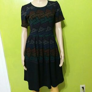 Lularoe Amelia multicolored polka dot dress Sz S